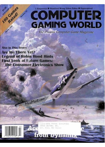 Cover Print of Computer Gaming World, March 1992