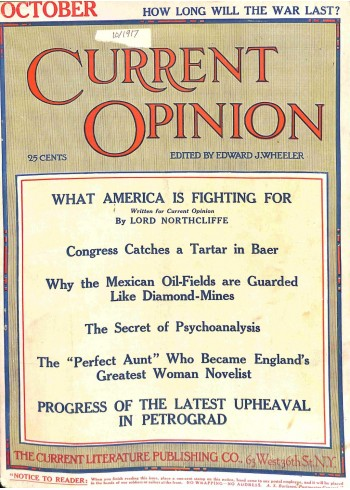 Cover Print of Current Opinion, October 1917