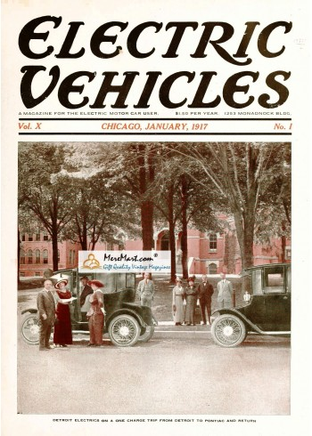Electric Vehicles, January, 1917. Poster Print.