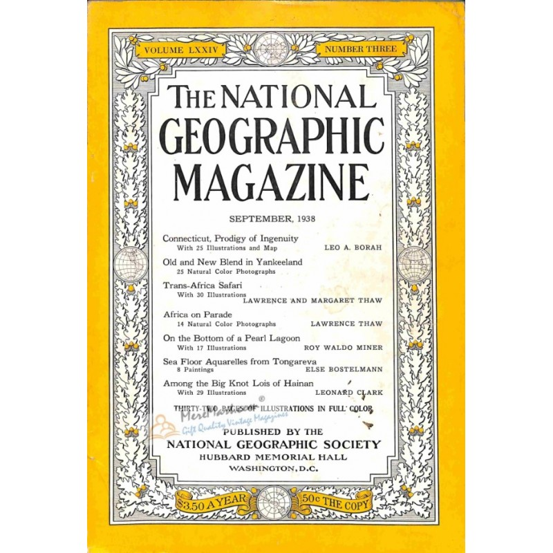 Cover Print Of National Geographic September 1938