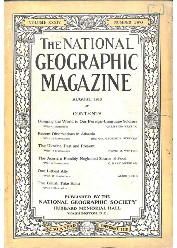 Cover Print of National Geographic Magazine, August 1918