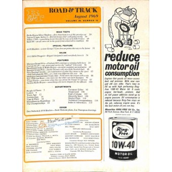 Cover Print of Road and Track, August 1969